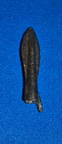"A large and pleasant Ancient Greek bronze ""Barbed Leaf Style"" socketed arrowhead. SOLD"